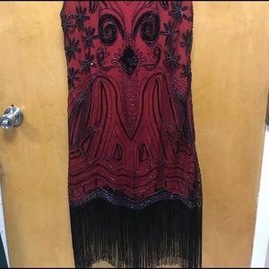 Short Red Flapper Dress w/ Black Details/ Beading